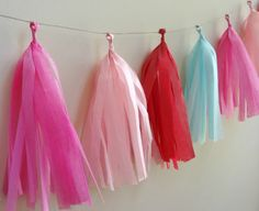 Pink Red and Aqua Tissue Tassel Garland  One by onestylishparty, $24.00