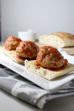 Turkey Meatball Sliders on Toasted Ciabatta by keystothecucina.com