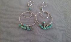 Sterling Silver Hoop Earrings with Pretty Blue/Green by smisko