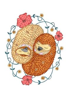 Little Hedgehogs Greeting Card by SophieParker on Etsy, Hedgehog Day, Happy Hedgehog, Hedgehog Craft, Cute Hedgehog, Hedgehog House, Hedgehog Illustration, Illustration Art, Doodle, Unicorn Art