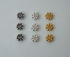 4mm Daisy Spacers  Choose Antique Silver Bright by BestBuyDesigns