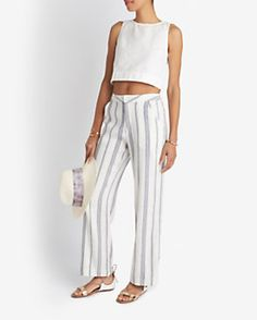Sea Striped Linen Blend Pants