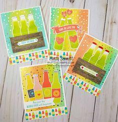 Soda pop bottle cards featuring Stampin' Up! Springtime Foils paper sponged background, Bubble Over stamp set/bundle and Bubbles & Fizz Sale-a-Bration paper, by Patty Bennett