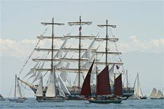 Sailing boats take part in the windjammer parade on Kiel Bay, northern Germany, June 25, 2005. More than 100 sailing boats and motor vessels took part in this event on the occasion of the Kiel Week, the world's biggest sailing event.      Credit: AP
