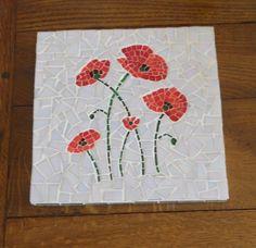 """ARTISANAT D'ART dessous de plat mosaique coquelicot champetre Fleurs  - Dessous de plat mosaique """" Coquelicots """""""