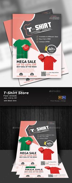 Buy T-Shirt Store Flyer by Designcrew on GraphicRiver. Tshirt store Flyer fully editable in illustrator and Photoshop Source: Ai, Eps, Psd Size: 210 by 297 Bleed: . T Shirt Design Software, T Shirt Design Template, Resume Template Free, Planner Template, Print Templates, Magazine Design, Poster Art, Gig Poster, Poster Festival