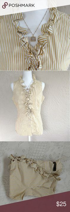 "The Limited Essential button down ruffle shirt The Limited Essential Shirt, sleeveless button down blouse with ruffle neckline. Mustard yellow, white, and grey vertical stripe pattern. In excellent used condition.  Size large: 40"" bust, 36"" waist, 25"" length The Limited Tops Button Down Shirts"