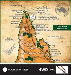 Cape York QLD - on the list for 2013 adventure? York Peninsula, Twin Falls, Australia Map, Beautiful Beaches, Cape, Road Trip, Camping, Island, Bucket