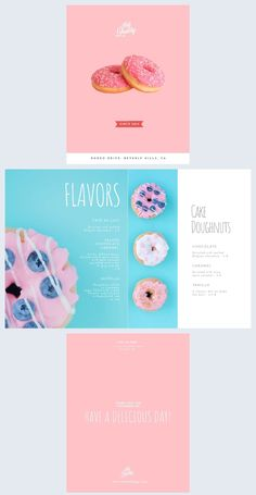 With a pink design that pairs perfectly with donuts, this dessert menu template is just the most delicious choice. Edit, print and share it with your customers. What a delight! Elegant Desserts, Desserts Menu, Cupcake Shop Interior, Menu Template, Templates, Strawberry Drawing, Donut Logo, Ice Cream Menu, Cake Cafe