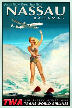 Honolulu Hawaii Twa Airlines Pacific Waterski Travel Poster Pin Up Art Print 127 Vallarta Mexico, Puerto Vallarta, Pinup Art, Antibes France, Casablanca Morocco, Lake Travis, Nassau Bahamas, Airline Travel, Poster Ads