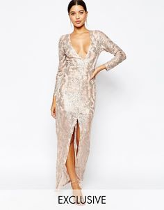 70d7584159b Image 1 of Club L Sequin Maxi Dress with Plunge Back and Long sleeves  Sequin Party