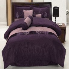 """Queen Size 11Pc Linden Bed in a Bag    11 Piece Luxury Bedding Set. *The colors of this set are combination of Violet, Lavender, Purple and Lavender Stitching, 1- Comforter 86""""Wx86""""L, 1-Bed-skirt 60""""Wx80""""L, 2-Standard Pillow Shams 20""""Wx26""""L, 1- cushion 16""""x16"""", 1- breakfast pillow 12""""x16"""", 1- Neck Roll 6.5""""x16"""", 1- Queen Flat sheet, 1-Queen Fitted Sheet fit mattress up to 16"""" deep, and 2-Standard Pillowcases"""