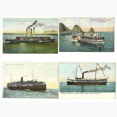 4 Vintage Steamer Ship Boat Postcards  Postally Unused Power Boat