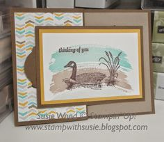 Stampin' Up!- What a quick & easy guy card using the set- 'Moon Lake' and of course the best set ever- 'Work of Art'!