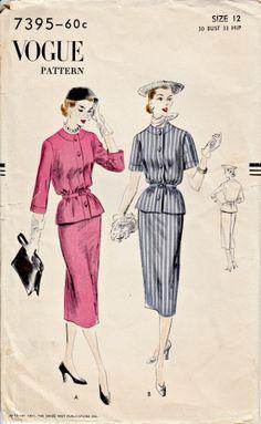 1950's Vogue Pattern  VOGUE 7395  1951 by ShellMakeYouFlip on Etsy, $28.50