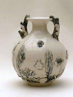 M.Wein Sea creatures B & W, vase