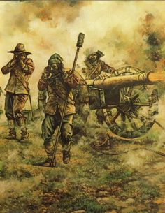 English artillery in action, English Civil War
