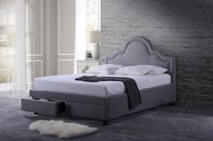 Baxton Studio Brisbane Grey King Modern Fabric Storage Platform Bed with 2 Drawers