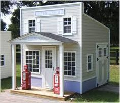 Cute for a backyard boys playhouse gas station shed