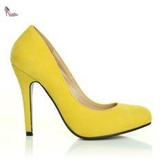 Stiletto - Escarpin Chaussure Femme Imitation Daim Talon Haut Classique Décolleté - Jaune - Daim Jaune, Synthétique, EU 40 - Chaussures shuwish uk (*Partner-Link)