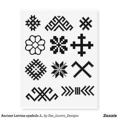 Ancient Latvian symbols Jumis Star Cross Star Temporary Tattoos