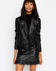 ASOS Ultimate Biker Jacket with Piped Detail