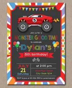 Monster Truck Invitation Monster truck Invite by PixeleenDesigns