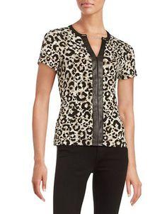 Calvin Klein Faux Leather-Trimmed Top Women's Khaki Multi Medium