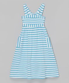 Another great find on #zulily! Aqua Stripe Maxi Dress - Girls by ODCY by E-land Kids #zulilyfinds