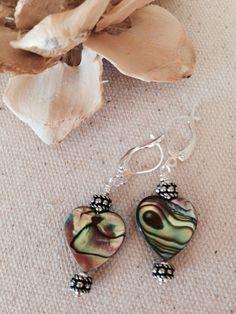 Mother Of Pearl Heart Beaded Earrings