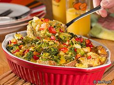 Breakfast Veggie Casserole - This #lowfat breakfast casserole recipe is perfect for whipping together on the weekends. With ingredients like broccoli, onion, Cheddar cheese, bread, and more, it's no wonder it's such a hit!
