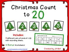 Christmas Count to 20.   Math Center and Worksheets. $