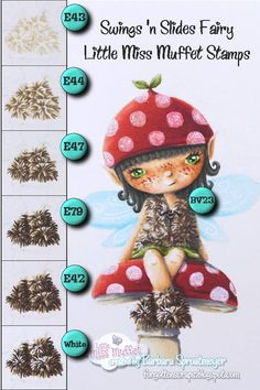 Fur technique using Swings 's Slides Fairy from Little Miss Muffet Stamps.