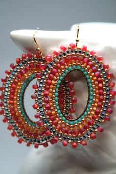 Dance seed bead earrings hoops gypsie style Spanish Dance seed bead earrings hoops gypsie by createdbycarlaSpanish Dance seed bead earrings hoops gypsie by createdbycarla Seed Bead Jewelry, Seed Bead Earrings, Beaded Jewelry, Handmade Jewelry, Hoop Earrings, Seed Beads, Beaded Earrings Patterns, Jewelry Patterns, Beading Patterns