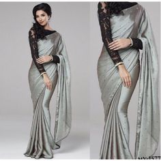 Casual Wear With Party Wear Plain Saree With Fancy Cloth Regular Uses Saree With Fancy Blouse Designer Blouse Moti Work Saree - Saree Styles Fancy Sarees Party Wear, Saree Designs Party Wear, Party Sarees, Sari Blouse Designs, Saree Blouse Patterns, Black Blouse Designs, Trendy Sarees, Stylish Sarees, Indische Sarees