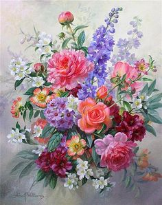 <b>Albert Williams (1922-2010)</b> <br /> oil on canvas, <br /> Bouquet of Summer Flowers, A19/2, <br /> signed, <br /> <i>24 x 20in.</i>