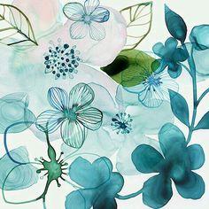 Turquoise | Aqua | Teal | watercolour illustration, floral print