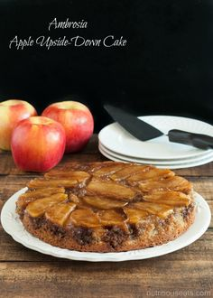 Ambrosia Apple Upside-Down Cake {Gluten Free} Homemade Cake Recipes, Healthy Dessert Recipes, Apple Recipes, Easy Desserts, Real Food Recipes, Cake Recipes From Scratch, Gluten Free Cakes, Fall Baking, Foods With Gluten