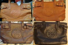 Bought this vintage Michael Kors handbag for $10.49 (30% off day). Not fond of the colour, so I conditioned the leather with acetone, dyed it three times with brown Fiebings leather dye, conditioned it with acrylic leather conditioner.... and voila! A more modern looking rich, chocolate brown.