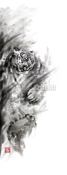 Dragons art tiger art watercolor painting japan by SamuraiArt, $850.00