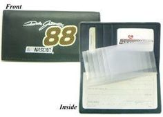 Dale Jarrett NASCAR Embroidered Leather Checkbook Cover by Caseys. $40.95. Keep track of your checking account in style with this attractive checkbook cover!Your favorite teams logo is embroidered on the front of the cover.This genuine leather checkbook cover has 3 inner compartments slots for your drivers license and 5 credit cards and a duplicate flap.Intended to be used with top tear checks.Made by Rico.
