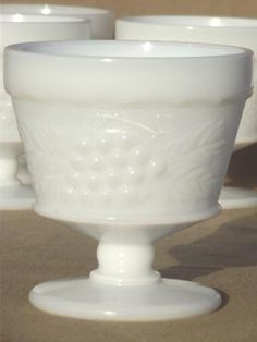 Rare Milk Glass | vintage milk glass grape pattern sherbets set, Hazel Atlas kitchen ...