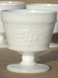 Rare Milk Glass | vintage milk glass grape pattern sherbets set, Hazel Atlas kitchen ...