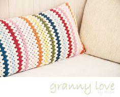 Granny striped cushion.