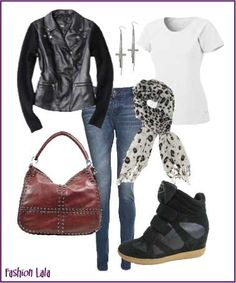 I saw this simply chic outfit on a supermodel (who shall remain nameless) running through LAX recently. Faded skinny jeans, a white tee, motorcycle inspired jacket and leopard scarf.  She was carrying an oversized red bag similar to this one and great black hidden wedge sneakers with gum sole.