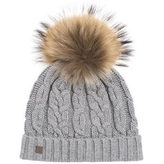 98c6ea2585a055 Hat ($75) ❤ liked on Polyvore featuring accessories, hats, fur pom pom hat, fur  beanie hat, pom pom hat, gray beanie hat and cable knit pom pom hat