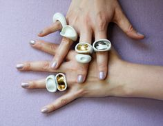 Ring  porcelain jewelry platinum by JulianeBlank on Etsy, €30.00