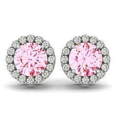 Diamond Halo and Pink Moissanite Stud Earrings, 14k White Rose or Yellow Gold, Designer Earrings - Unique - Custom - 5mm 6mm 7mm or 8mm