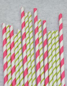Tinkerbell party - Hot Pink and Bright Green Paper Straws, Pack of 50, Vera Bradley-esque, Skinny Stripe