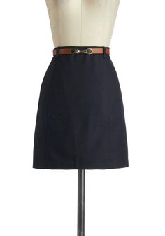 On-Campus Adorable Skirt - Short, Blue, Solid, Pockets, Belted, Work, Scholastic/Collegiate, A-line